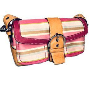 Coach Striped Soho Flap Leather Handbag
